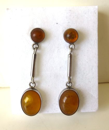 Sterling silver amber ear drops, posts for pierced ears