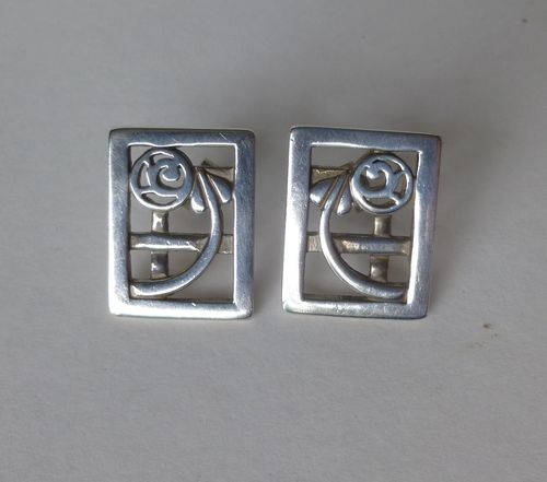 Historic originals Rennie Mackintosh inspired rectangular ear studs