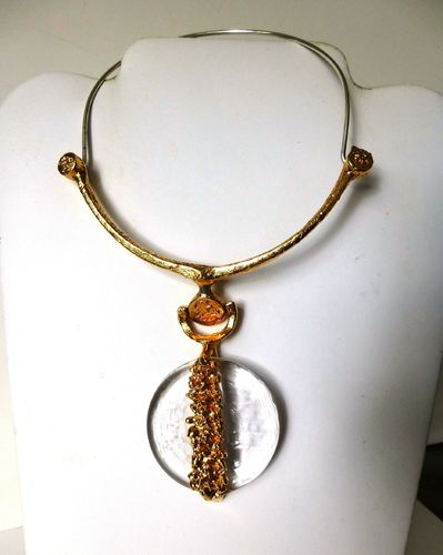 Jacob Hull gold-plated necklace with glass pendant