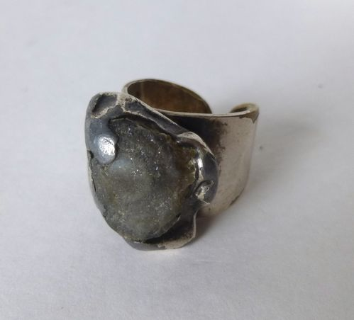 Jacob Hull silver-plate ring with stone