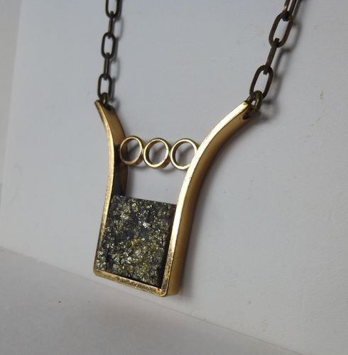 Alton Palmberg bronze pyrite brutalist necklace