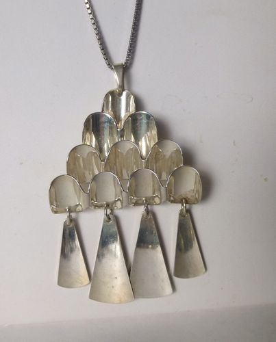 David-Andersen Sterling modernist pendant + chain
