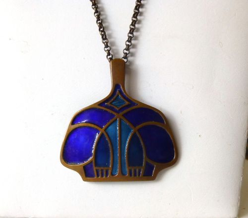 David-Andersen blue enamel on bronze pendant + chain