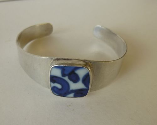 Dansk Smykkekunst Sterling silver bangle with porcelain