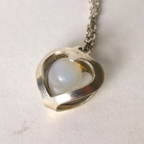 Alton Sterling silver heart pendant with moonstone ball