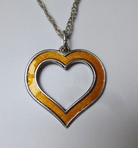 Hroar Prydz Sterling yellow enamel heart pendant
