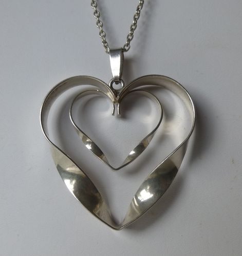 SVG  Sterling silver large silver double heart pendant