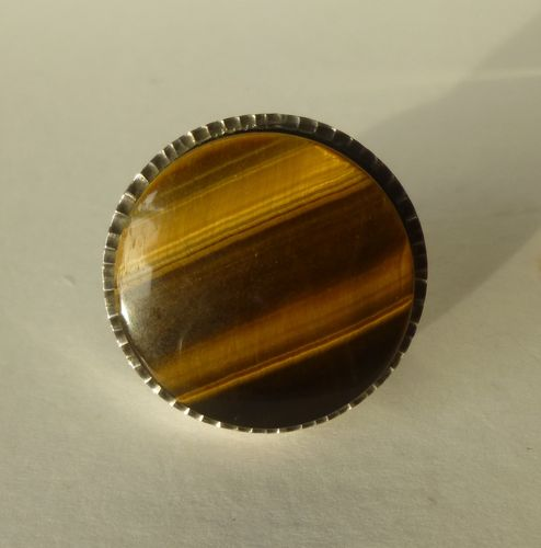 Jens Asby huge Sterling silver tiger eye ring, size  L, 6, 52
