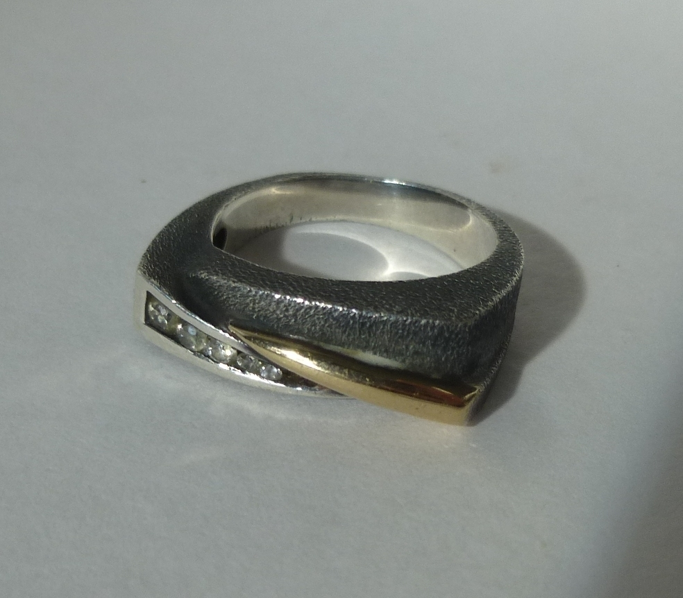 in rings raw diamond engagement set ring with p wedding sil oxidized silver sterling band rough and black product rustic