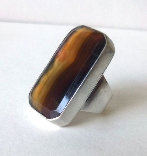 Danish Sterling silver rectangular striped agate ring, size O, 7.25, 55