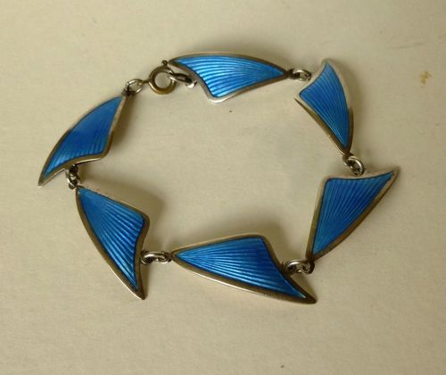 Brd.Bjorklund Sterling abstract blue bracelet