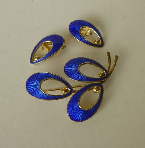 Jemax Sterling gilt blue enamel brooch and ear clips