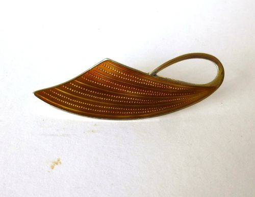 Holmsen Sterling gilt brown enamel abstract brooch