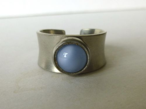 Jørgen Jensen pewter light blue 'catseye' ring