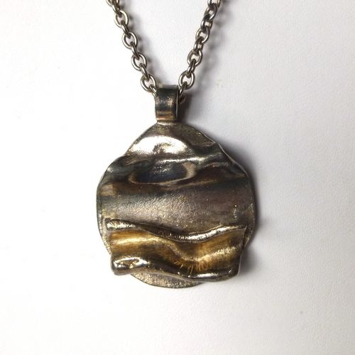 WA Denmark silver and gold plate brutalist pendant
