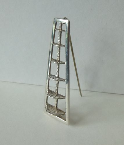 Carrick Sterling silver modernist ladder brooch
