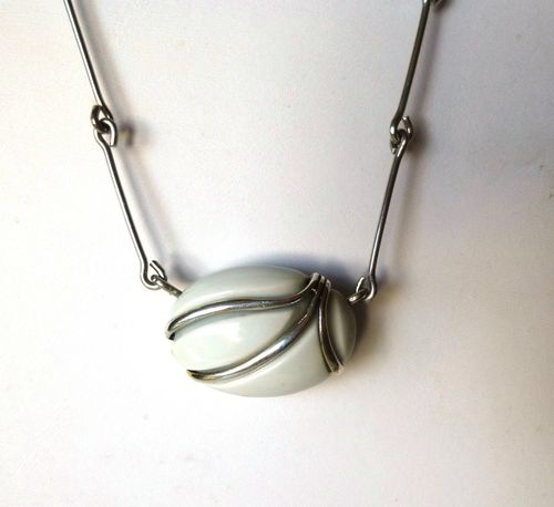 Royal Copenhagen porcelain and silver necklace