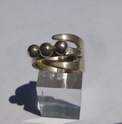 Uni David-Andersen 'LuckyCharm' Sterling 3 balls ring, adjustable