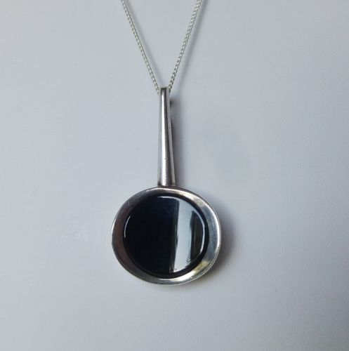 N.E.From Sterling silver onyx? pendant + chain