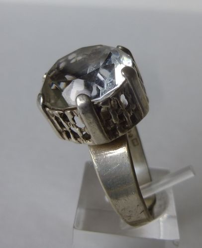 Alton Palmberg Sterling silver crystal ring, adjustable size