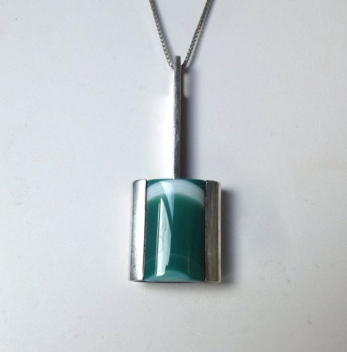 Bengt Hallberg green banded agate pendant + chain