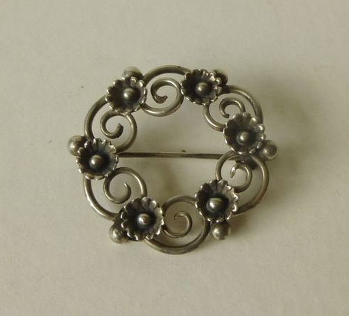 Per Ericsson Sterling silver mid-century floral brooch