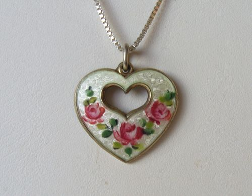 Opro Sterling silver enamel heart pendant with roses + chain