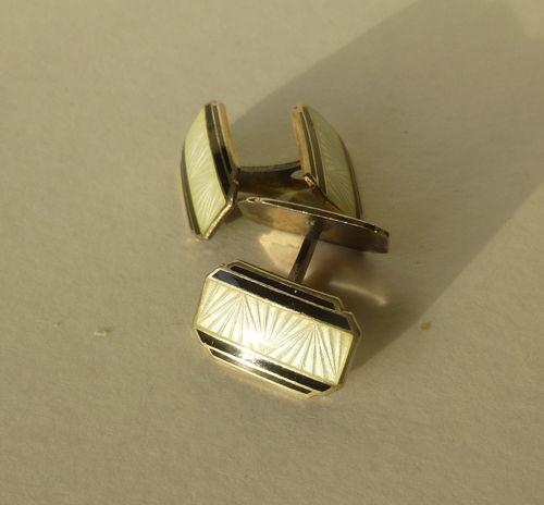 65cb6a56b562 Norwegian Sterling gilt Deco double black and white enamel cufflinks