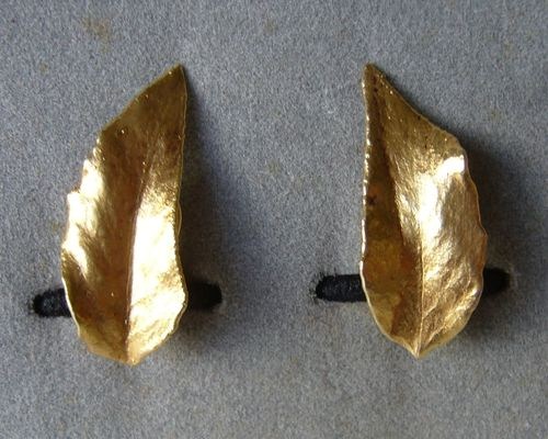 Flora Danica silver-gilt leaf ear clips