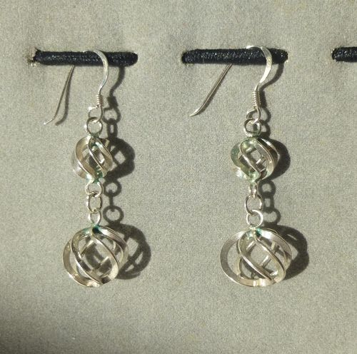 Silver spiral earrings with hooks