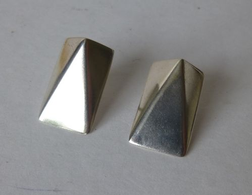 W&SS Horsens large silver geometric stud earrings
