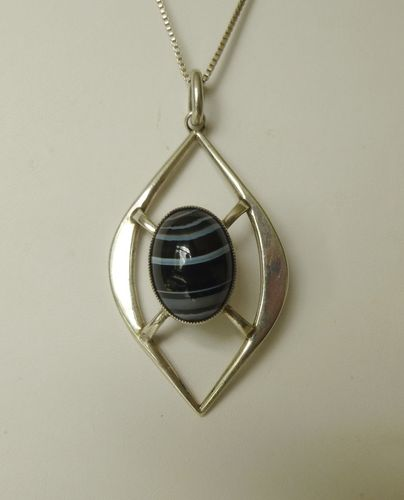 Danish Sterling silver banded agate pendant + chain