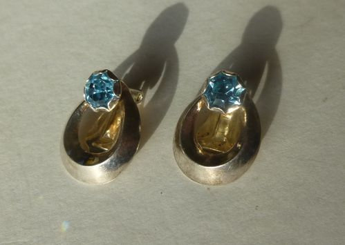 Siersbøl silver ear clips with blue stone