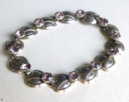 "Siersbøl Sterling  bracelet with lilac stones, 7"" / 18cm"