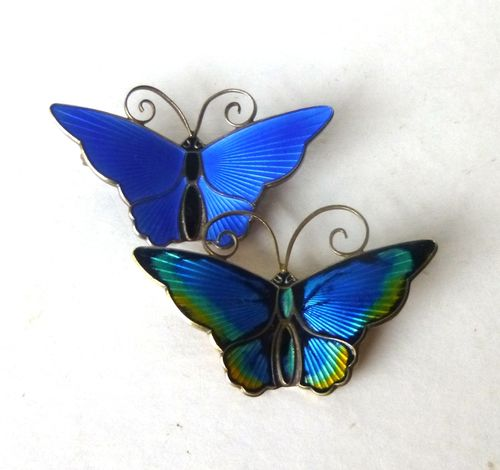 David-Andersen large blue butterfly brooches