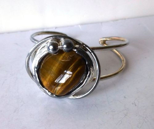 Smykkesmeden silvertoneTiger Eye bangle