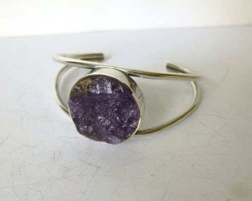 Randers Sterling silver rough amethyst  arm cuff