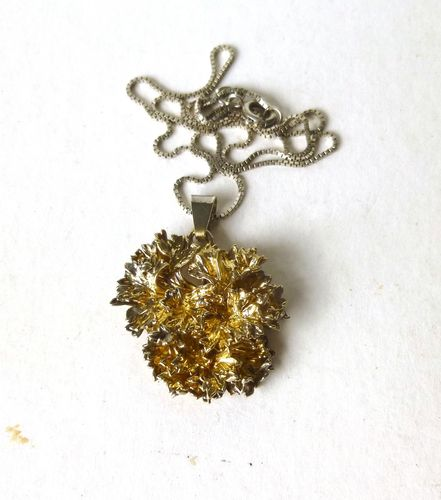 Flora Danica silver gilt parsley pendant + chain