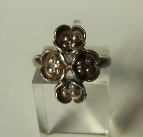 Danish silver floral ring, size L/6