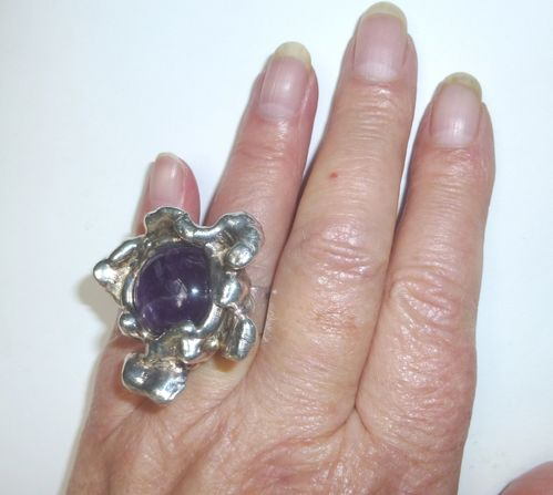Borke huge silver-plate ring with amethyst, slightly adjustable