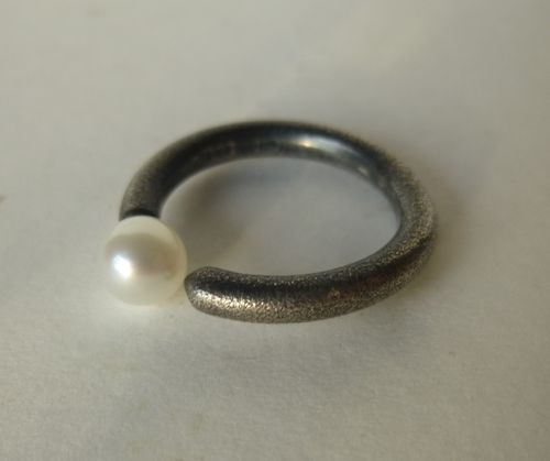 Aagaard Sterling oxidised ring with pearl, size L, 6, 52