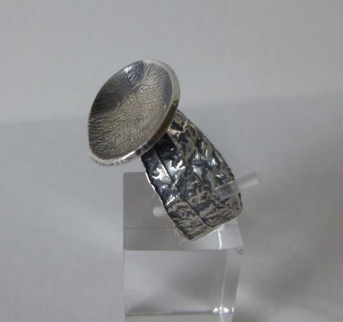 Brdr Bjerring Sterling dish ring, small N, 6.75, 54