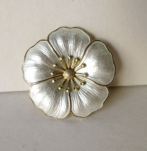 DGH sterling gilt white enamel dogwood brooch