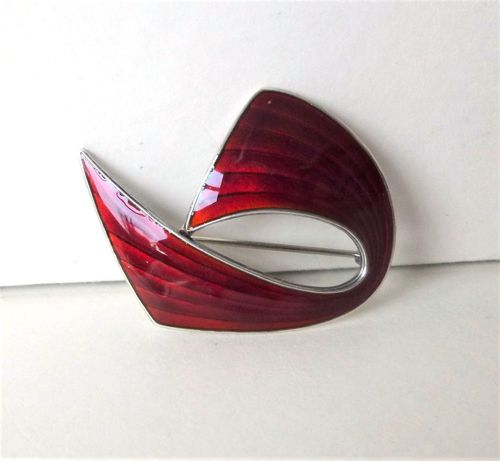 Holmsen Sterling gilt red enamel abstract brooch