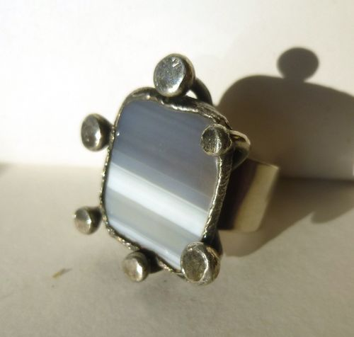 A + De  brutalist ring, adjustable size