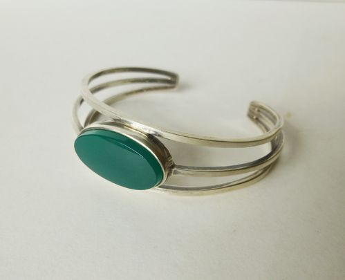 N.E.From Sterling silver green agate open bangle