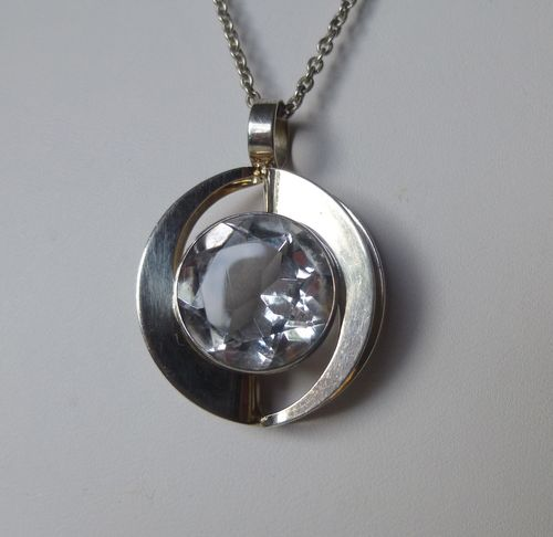 Salovaara  Sterling silver rock crystal pendant + chain
