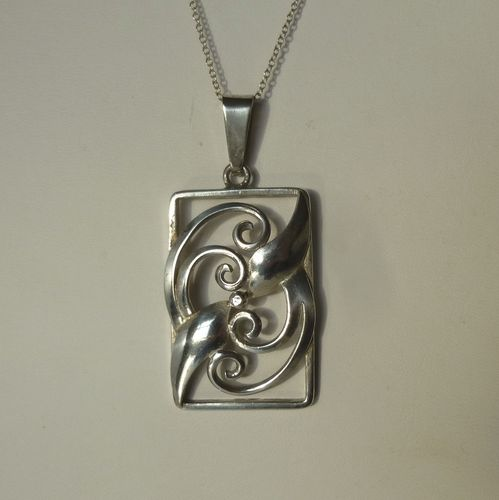 Hans Jensen silver leaf and scroll pendant + chain