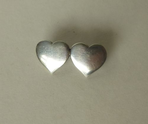 Hans Hansen Sterling silver two-heart brooch