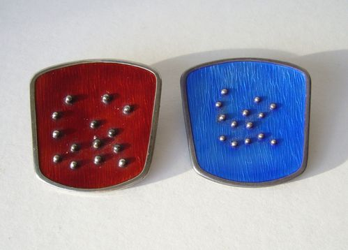 K.A.Rasmussen Sterling silver modernist red or blue guiilloche enamel brooch